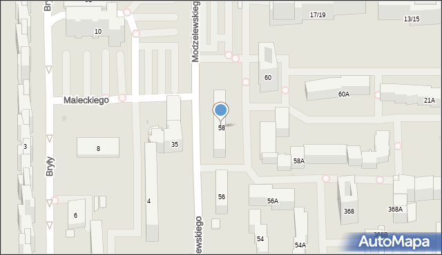 Warszawa, Modzelewskiego Zygmunta, 58, mapa Warszawy