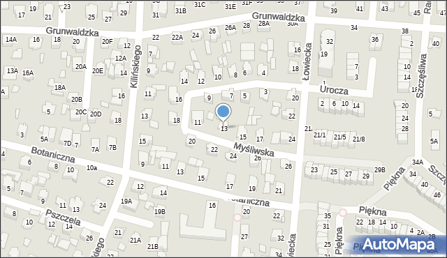 Chełm, Myśliwska, 13, mapa Chełma