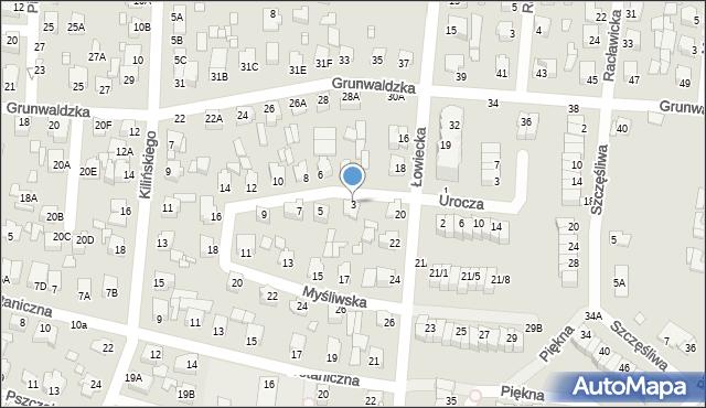 Chełm, Myśliwska, 3, mapa Chełma