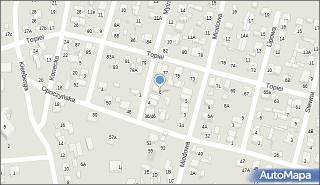 Radom, Mylna, 6, mapa Radomia