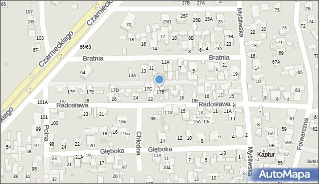 Radom, Myśliwska, 17B, mapa Radomia