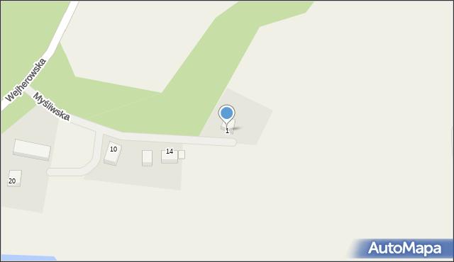 Robakowo, Myśliwska, 1, mapa Robakowo
