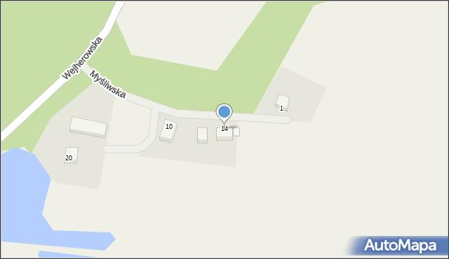 Robakowo, Myśliwska, 14, mapa Robakowo