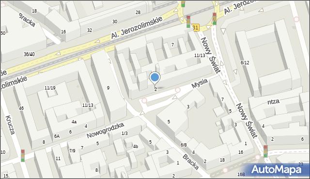 Warszawa, Mysia, 2, mapa Warszawy