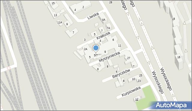 Warszawa, Myszyniecka, 5/7, mapa Warszawy