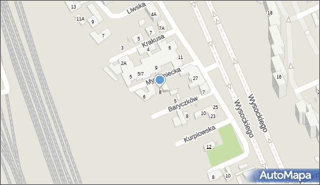 Warszawa, Myszyniecka, 8, mapa Warszawy