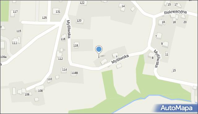 Zagórnik, Myśliwska, 1, mapa Zagórnik