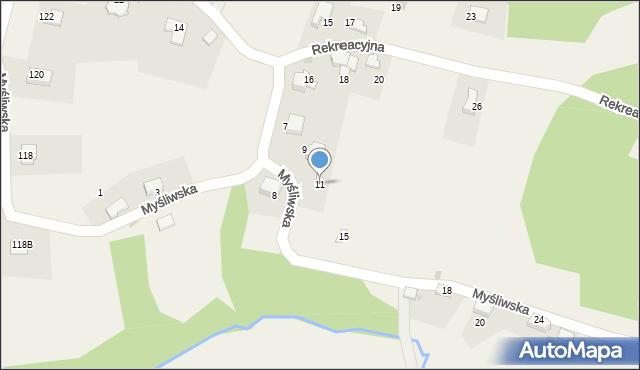 Zagórnik, Myśliwska, 11, mapa Zagórnik
