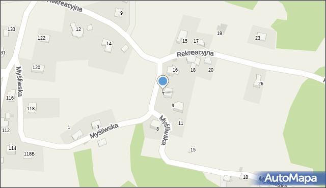 Zagórnik, Myśliwska, 7, mapa Zagórnik