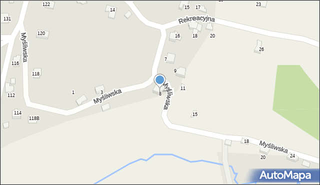 Zagórnik, Myśliwska, 8, mapa Zagórnik