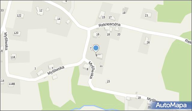 Zagórnik, Myśliwska, 9, mapa Zagórnik
