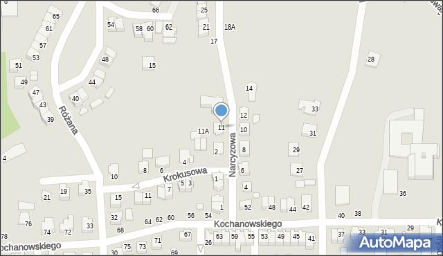 Chełm, Narcyzowa, 11, mapa Chełma