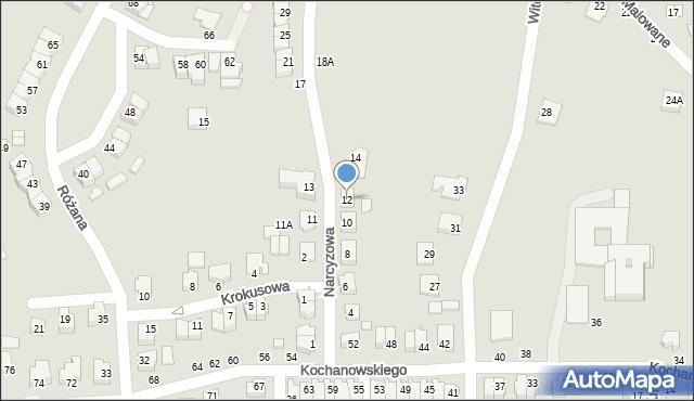 Chełm, Narcyzowa, 12, mapa Chełma
