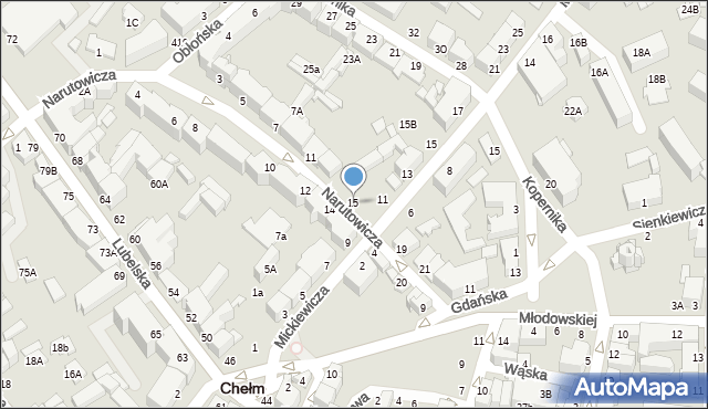 Chełm, Narutowicza Gabriela, 15, mapa Chełma