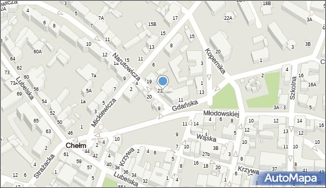 Chełm, Narutowicza Gabriela, 21A, mapa Chełma