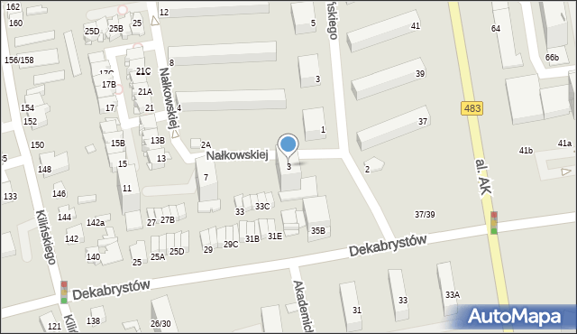 Częstochowa, Nałkowskiej Zofii, 3, mapa Częstochowy