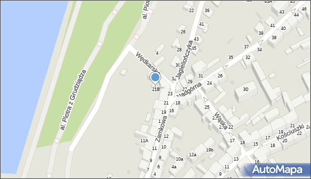 Grudziądz, Nadgórna, 21B, mapa Grudziądza