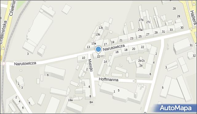 Grudziądz, Narutowicza Gabriela, 12, mapa Grudziądza