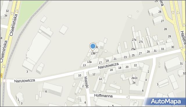 Grudziądz, Narutowicza Gabriela, 13b, mapa Grudziądza