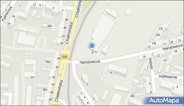 Grudziądz, Narutowicza Gabriela, 3, mapa Grudziądza