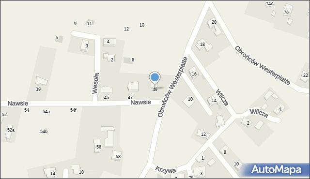 Jawiszowice, Nawsie, 49, mapa Jawiszowice