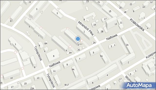Krosno, Naftowa, 2, mapa Krosna