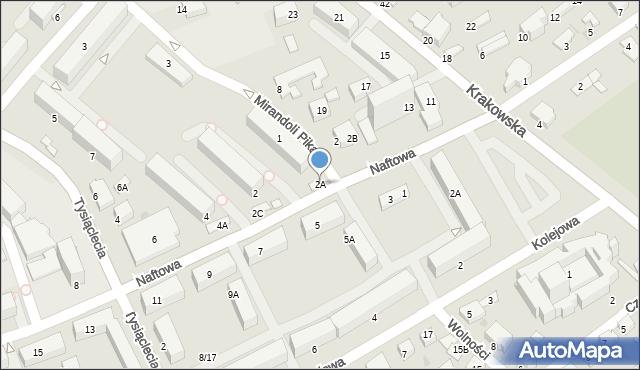 Krosno, Naftowa, 2A, mapa Krosna