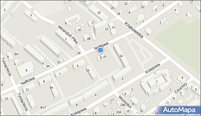 Krosno, Naftowa, 3, mapa Krosna