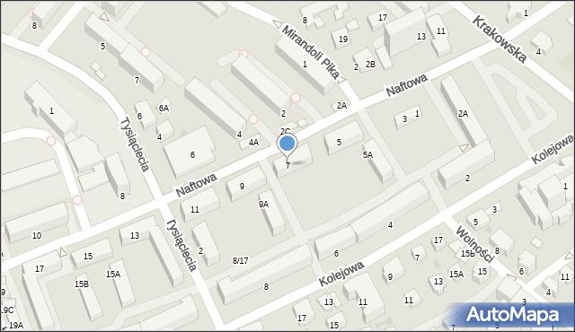 Krosno, Naftowa, 7, mapa Krosna