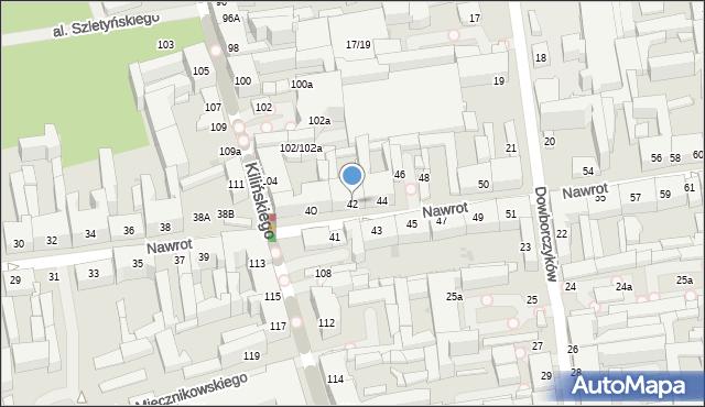 Łódź, Nawrot, 42, mapa Łodzi