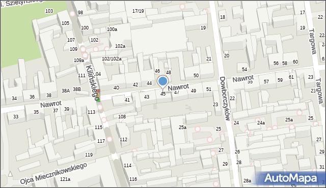 Łódź, Nawrot, 45, mapa Łodzi