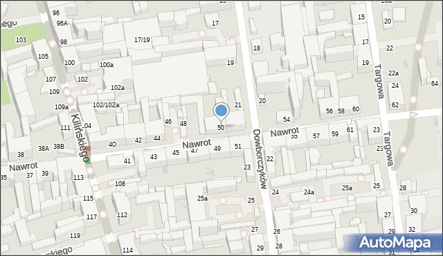 Łódź, Nawrot, 50, mapa Łodzi