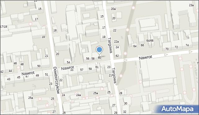 Łódź, Nawrot, 60, mapa Łodzi