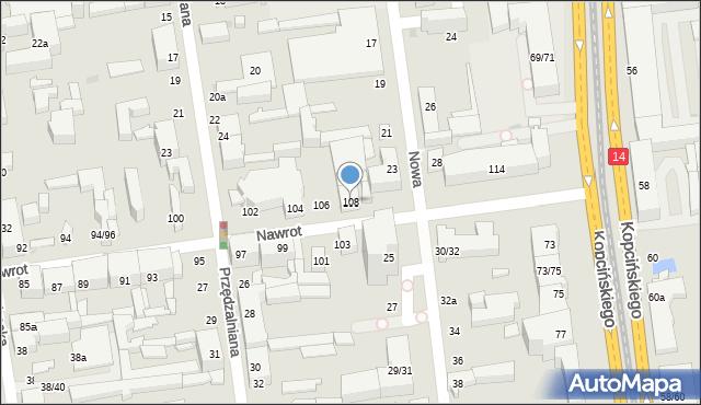 Łódź, Nawrot, 108, mapa Łodzi