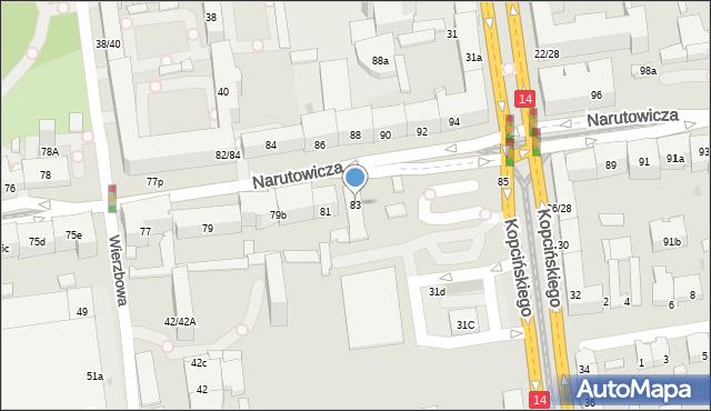 Łódź, Narutowicza Gabriela, prezydenta, 83, mapa Łodzi