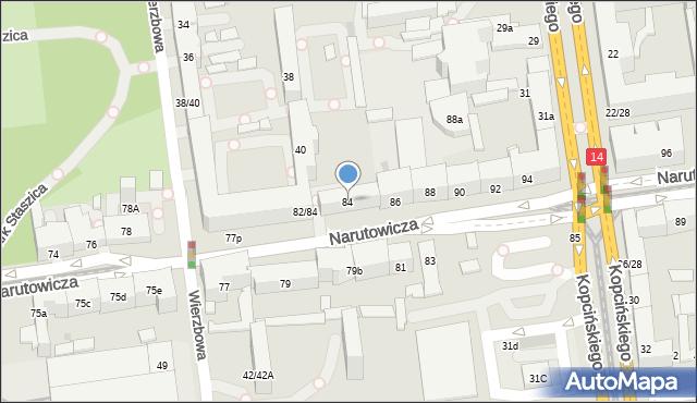 Łódź, Narutowicza Gabriela, prezydenta, 84, mapa Łodzi