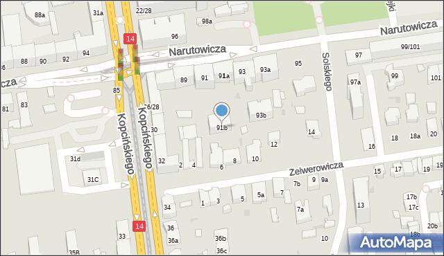 Łódź, Narutowicza Gabriela, Prezydenta, 91b, mapa Łodzi