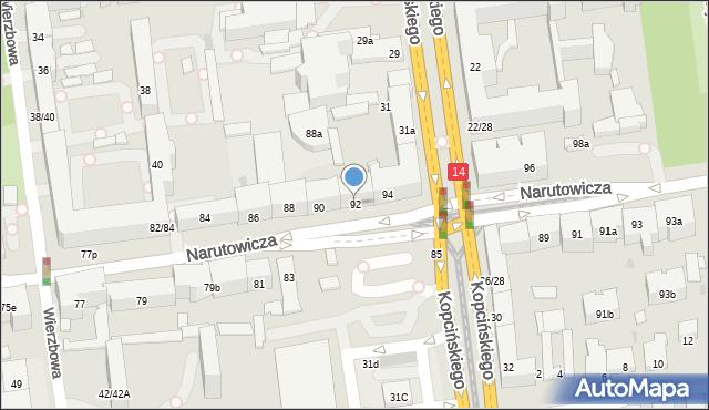 Łódź, Narutowicza Gabriela, Prezydenta, 92, mapa Łodzi