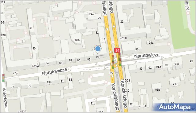 Łódź, Narutowicza Gabriela, Prezydenta, 94, mapa Łodzi