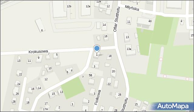 Luzino, Narcyzowa, 1, mapa Luzino