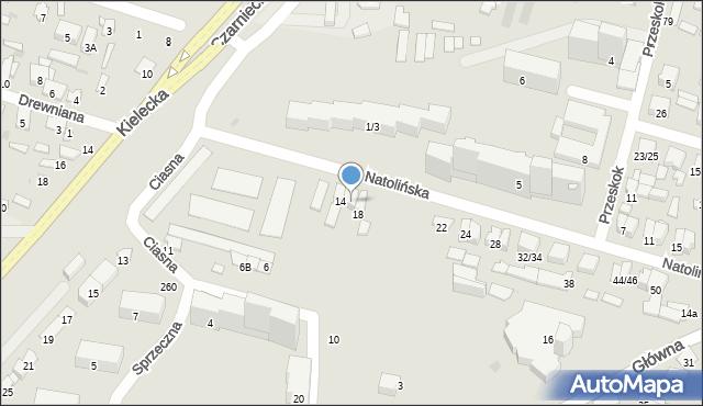 Radom, Natolińska, 14A, mapa Radomia