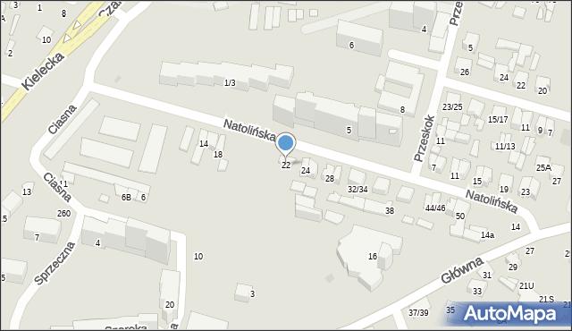 Radom, Natolińska, 22, mapa Radomia