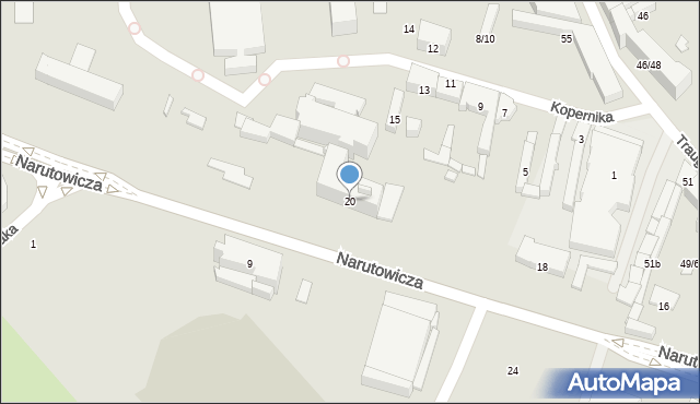 Radom, Narutowicza Gabriela, 20, mapa Radomia