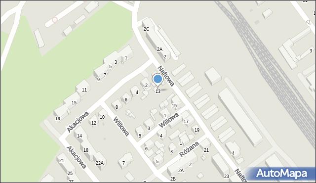 Sosnowiec, Naftowa, 13, mapa Sosnowca
