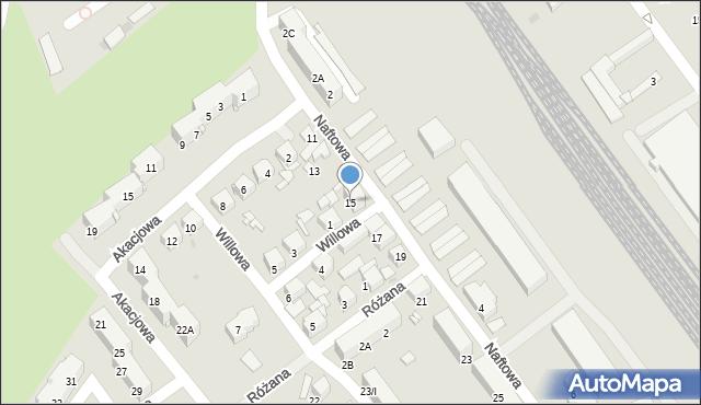 Sosnowiec, Naftowa, 15, mapa Sosnowca