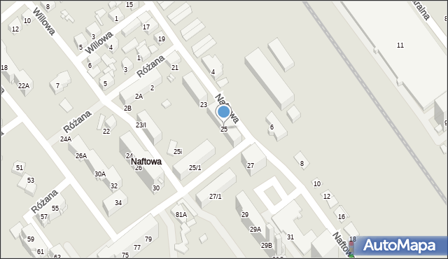 Sosnowiec, Naftowa, 25, mapa Sosnowca