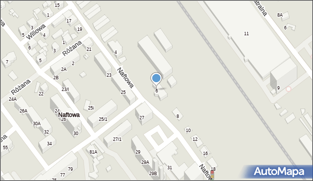 Sosnowiec, Naftowa, 6, mapa Sosnowca
