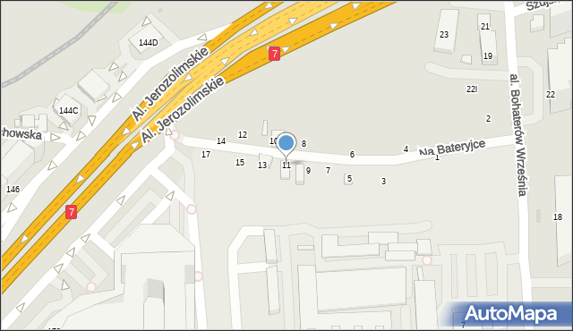 Warszawa, Na Bateryjce, 11, mapa Warszawy