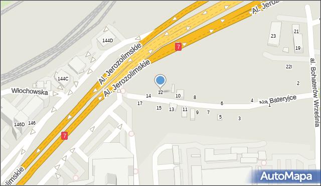 Warszawa, Na Bateryjce, 12, mapa Warszawy