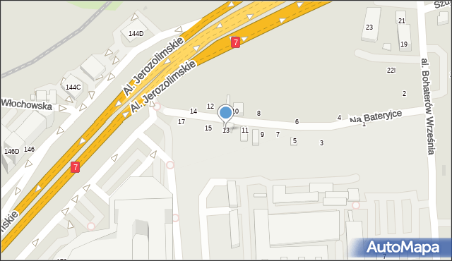 Warszawa, Na Bateryjce, 13, mapa Warszawy